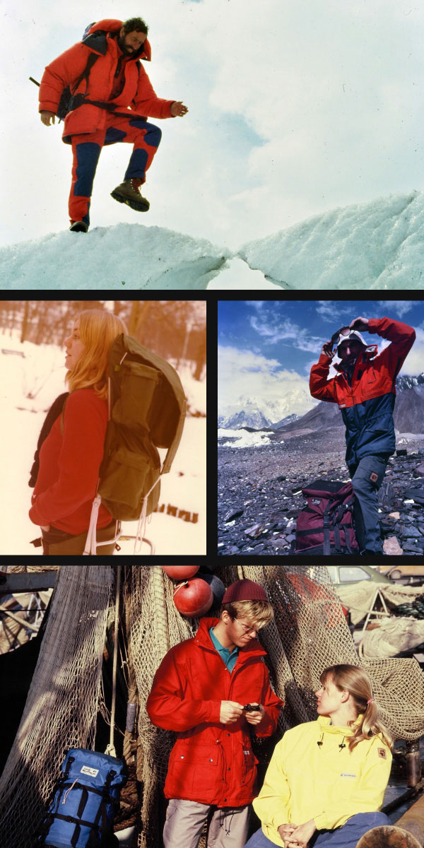 Collage of historical Jack Wolfskin pictures