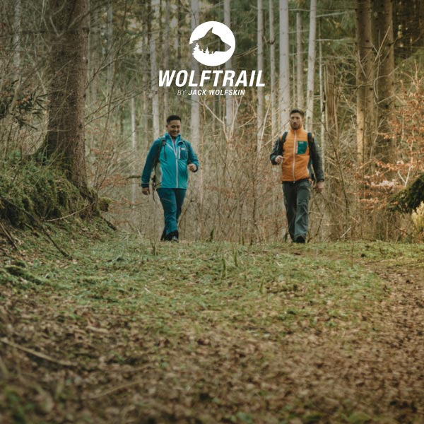 Two hikers in the forest